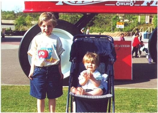 Jessica and Julia, Summer 2000 at the Zoo! (yes that is a HUGE red wagon)...