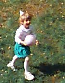 Jessica, age 5, running in back yard... at birthday party